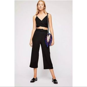 Free People Ali Pants Cropped Sz 4 Black Flare New